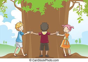 Kids hugging tree - A vector illustration of kids hugging a...