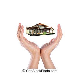 les, maison, sur, deux, mains