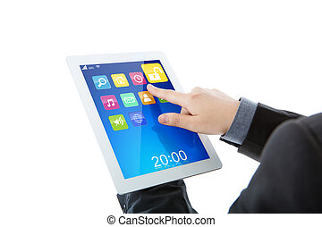 Business man use tablet pc computer with colorful...
