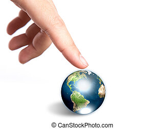 Hand pointing to earth Elements of this image furnished by...
