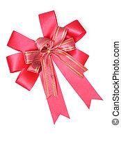 リボン, 贈り物, 隔離された, 弓, 白, サテン, 赤