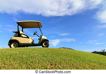 Golf cart on path, pretty green grass and blue sky...