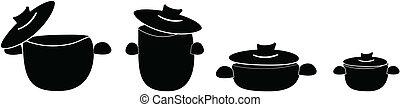Pots - Set of cooking pots, vector