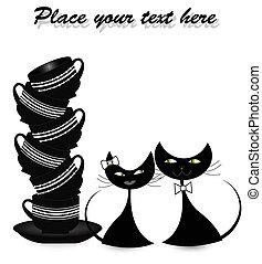 Two enamoured black cats with cups on a white background