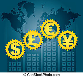 Major currencies - financial concept