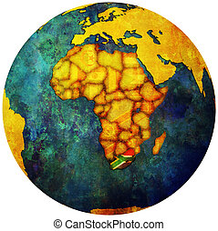 south africa flag on globe map