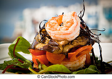 Prawn starter - Delicious prawn starter with salad,...