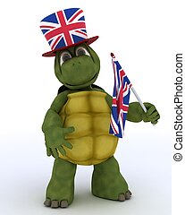 Tortoise in Union Jack Hat with Flag