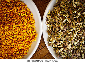 Fennel seeds and dry orange rind