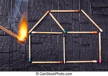 caution!, fogo, segurança, pensar