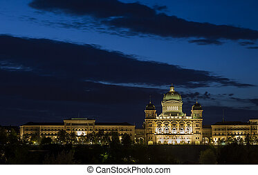 Bundeshaus - The brightly lit Bundeshaus or Federal Palace...