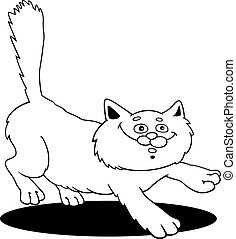 running fluffy cat fot coloring - cartoon illustration of...