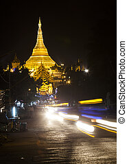 Shwedagon - The Shwedagon Pagoda at night, Yangon, Burma,...