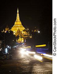 Shwedagon - The Shwedagon Pagoda at night, Yangon, Burma,...