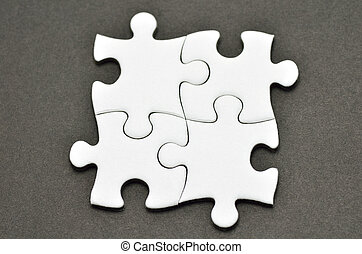 Jigsaw Puzzle. - Plain white jigsaw puzzle, on Black...