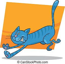 running blue tabby cat