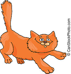 running red fluffy cat - cartoon illustration of running red...