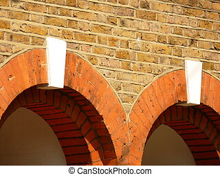 Keystones - Two red arches with white keystones in brick...