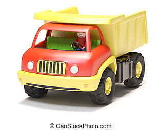 Toy truck on white background Its 3D image