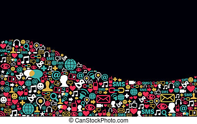 Social media network icon background - Landscape social...