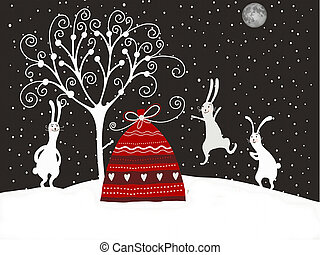 christmas rabbits - hgristmas rabbits illustration for...