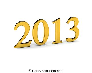 Year 2013 in gold numbers isolated on white