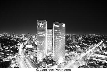 Tel Aviv skyline at - Aerial View Of Tel Aviv At Night - Tel...
