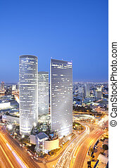 Tel Aviv skyline - Aerial View Of Tel Aviv At Sunset - Tel...