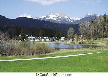 Campground in the alps of Bavaria Germany