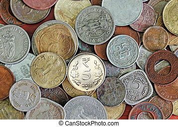 New, old and vintage indian coins background - Old, vintage...