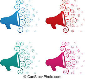 Megaphone Spirals Colors - Isolated megaphone spirals colors...