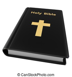3d holy bible with golden cross on white background