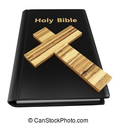 3d holy bible with wooden cross on white background