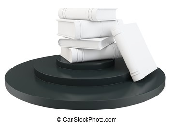 3d books with pedestal