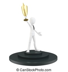 3d man businessman winner on pedestal