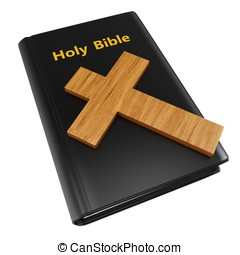 3d holy bible with wooden cross