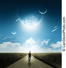Walk with comets - Walking man with brilliant comets and...