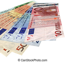 different colorful euro isolated, savings wealth, texture