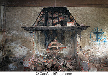 burned fire place - burned fire-place in abandoned House