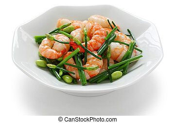 stir-fry chinese chives with prawns