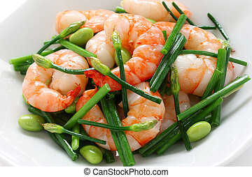 stir-fry chinese chives with prawns - chinese dish