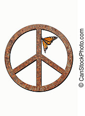 Rusty Metal Peace Symbol - Isolated rusted metal peace...