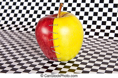 Contrast apple with two diffirent halves