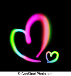 Neon light heart shape