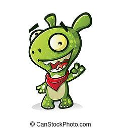 Cute Monster - Cute cartoon green monster wearing a bandana...