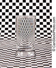 Small glass with distortion with black and white check