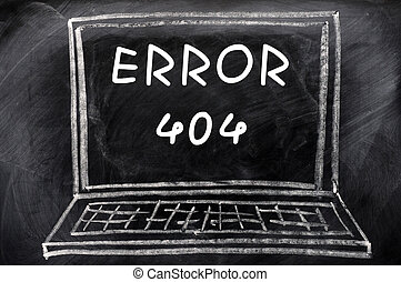 Error 404 on a blackboard background