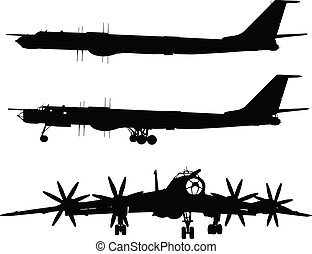 Tu-95 Bear - Vector silhouette of Tu-95 Bear Russian...