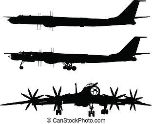 Tu-95 Bear - Vector silhouette of Tu-95 Bear Russian...