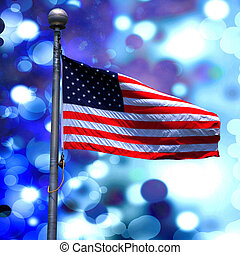 American Flag on Blue Background - American flag proudly...